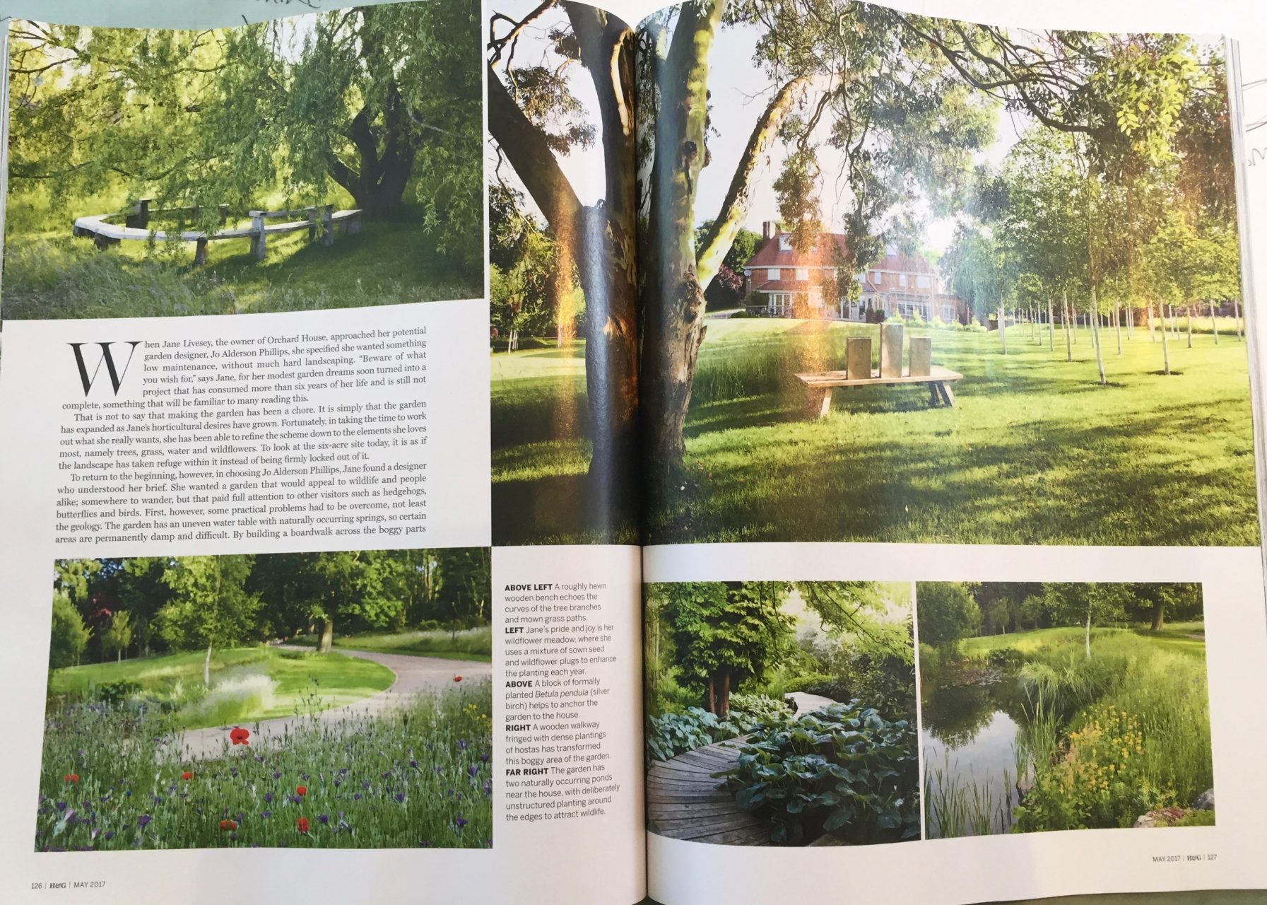 Pages from an article in Homes & Garden Magazine dated May 2017. It features garden I designed near Beaconsfield & Amersham