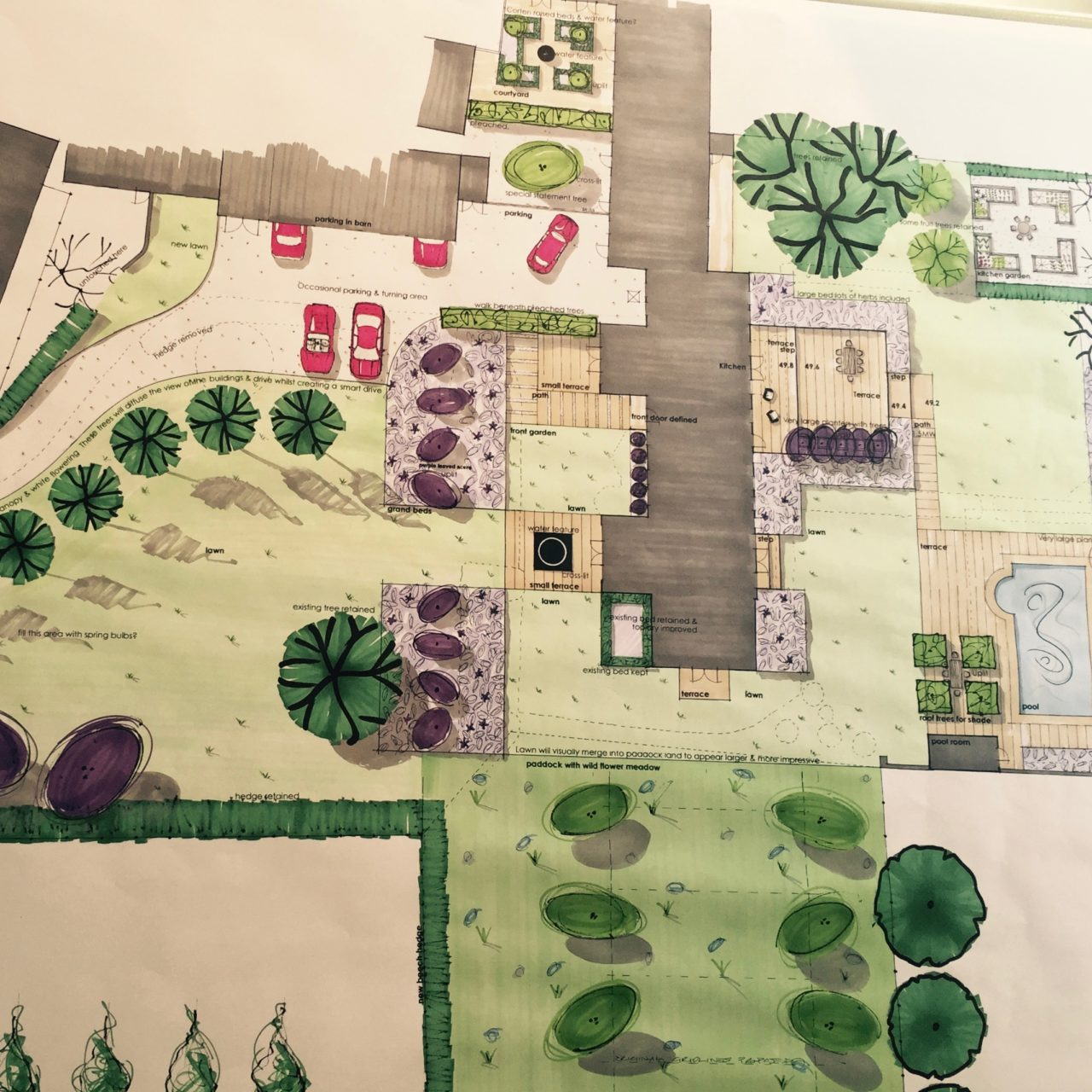 This is part of my drawing of a large garden surrounding a series of bsrns