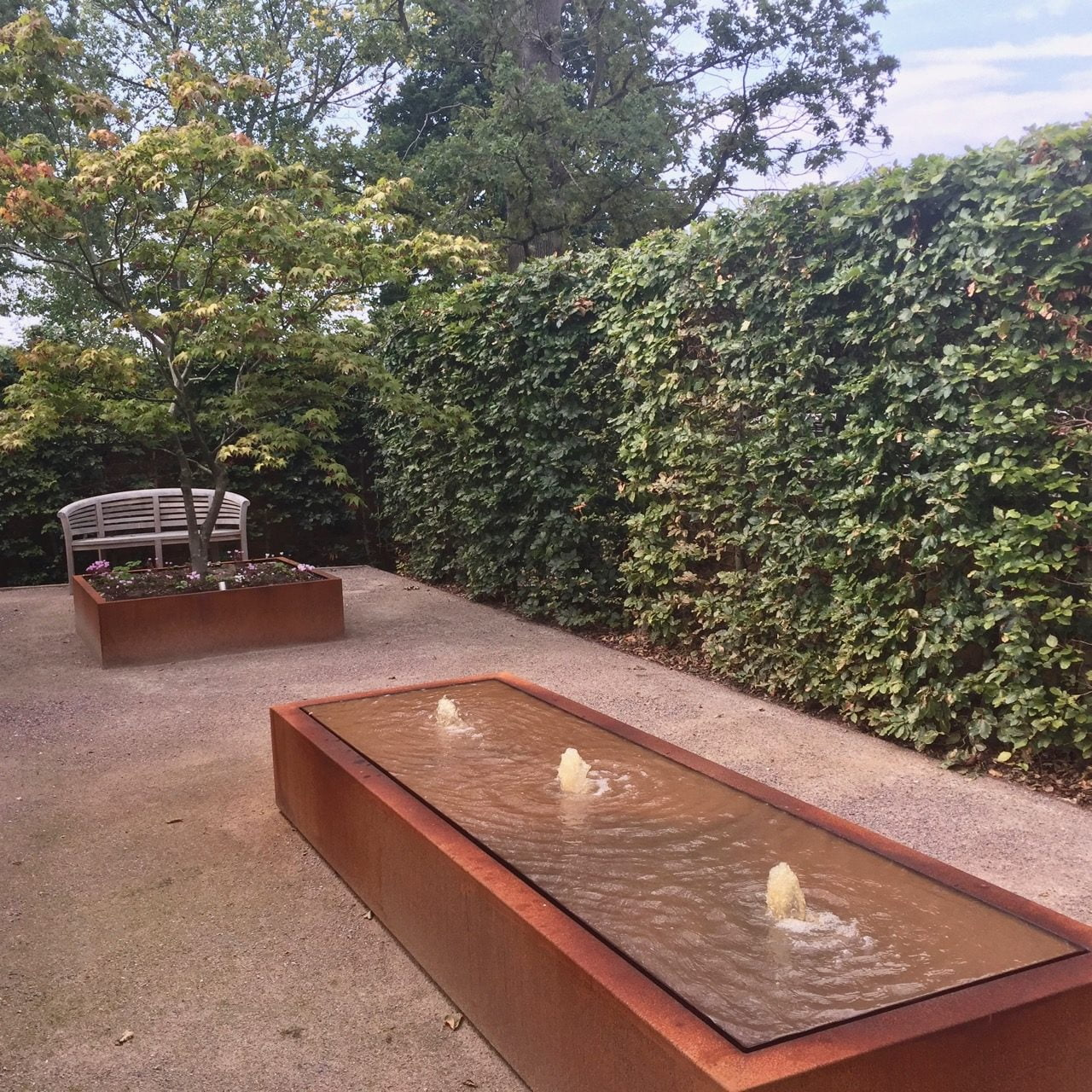 Water feature in Corten steel in a private courtyard garden by Jo Alderson Phillips