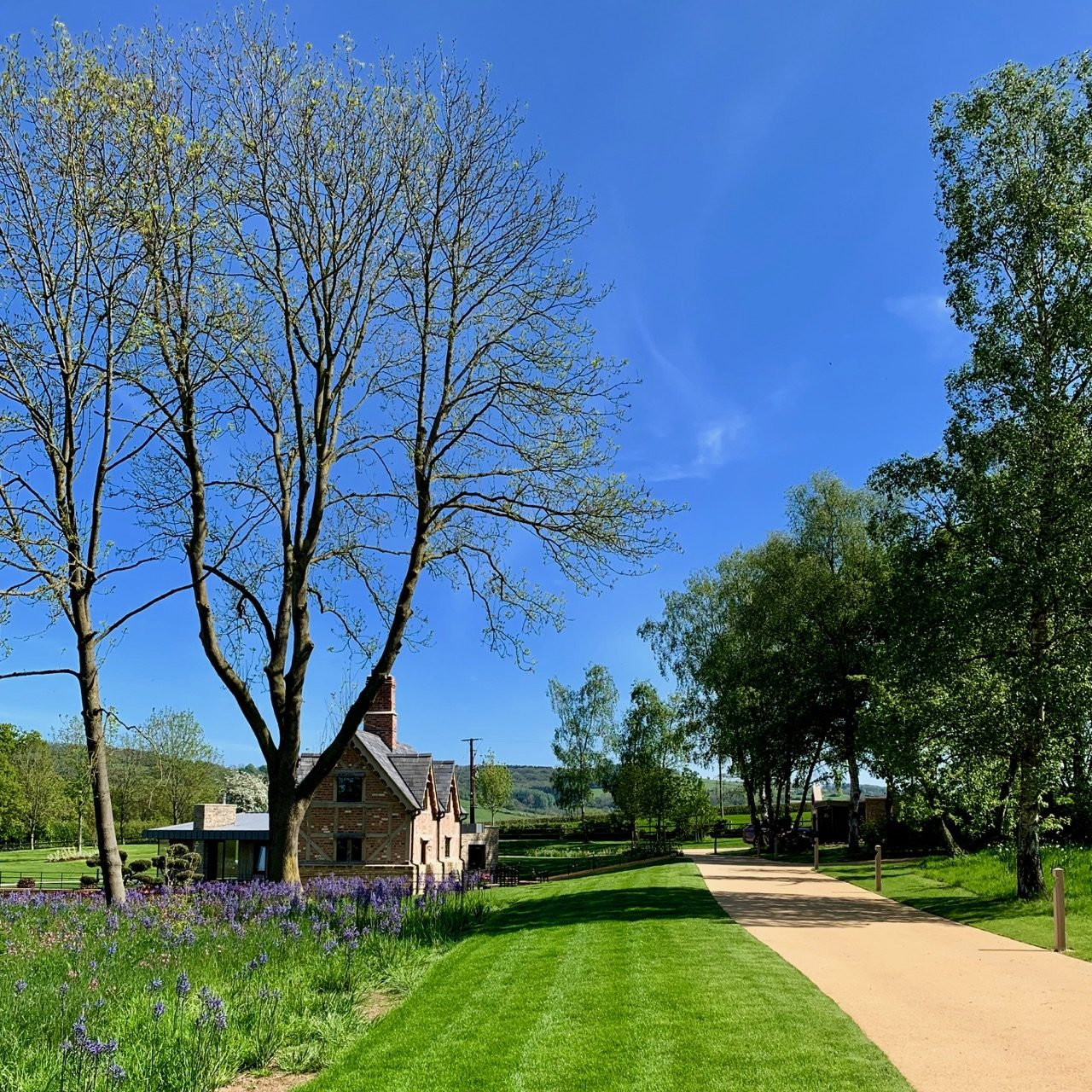 A tudo Cottage & wild flower meadow in this Cotswold garden by Jo Alderson Phillips that was built to Emotive Landscapes
