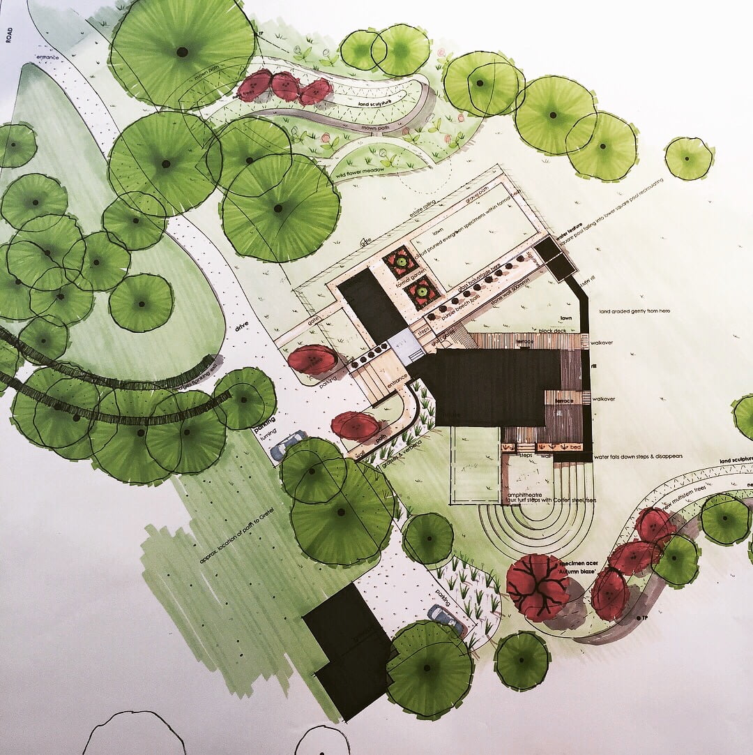 My drawing for this Cotswoldscheme incorporating a corten steel amphitheatre & pretty cottage garden