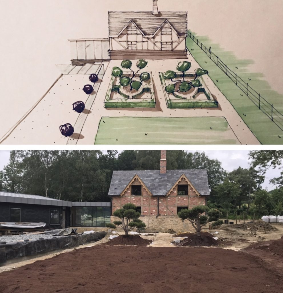 A sketch of my proposal & the real garden underway