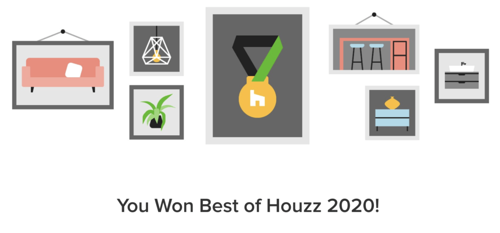 This is how Houzz told me I won an award this year 2020 - it's best designer