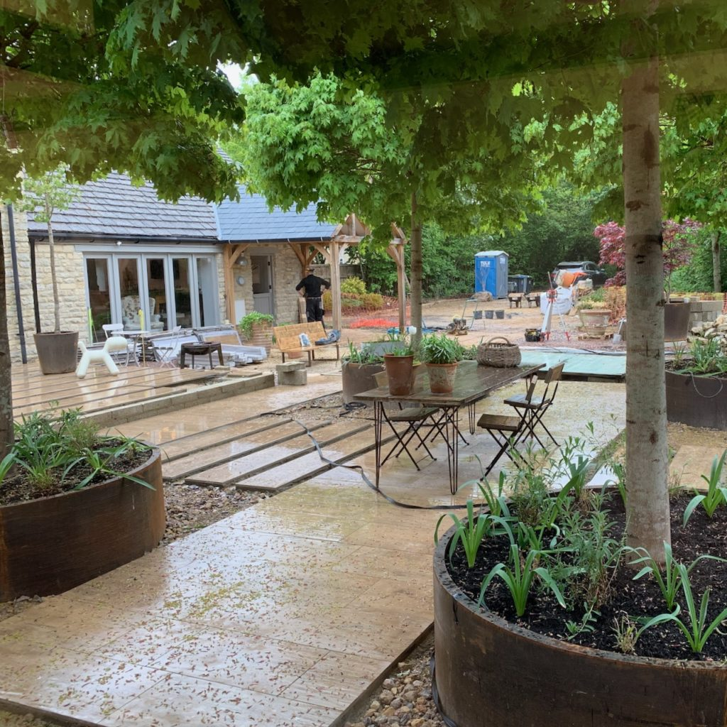 Our garden being built in the rain