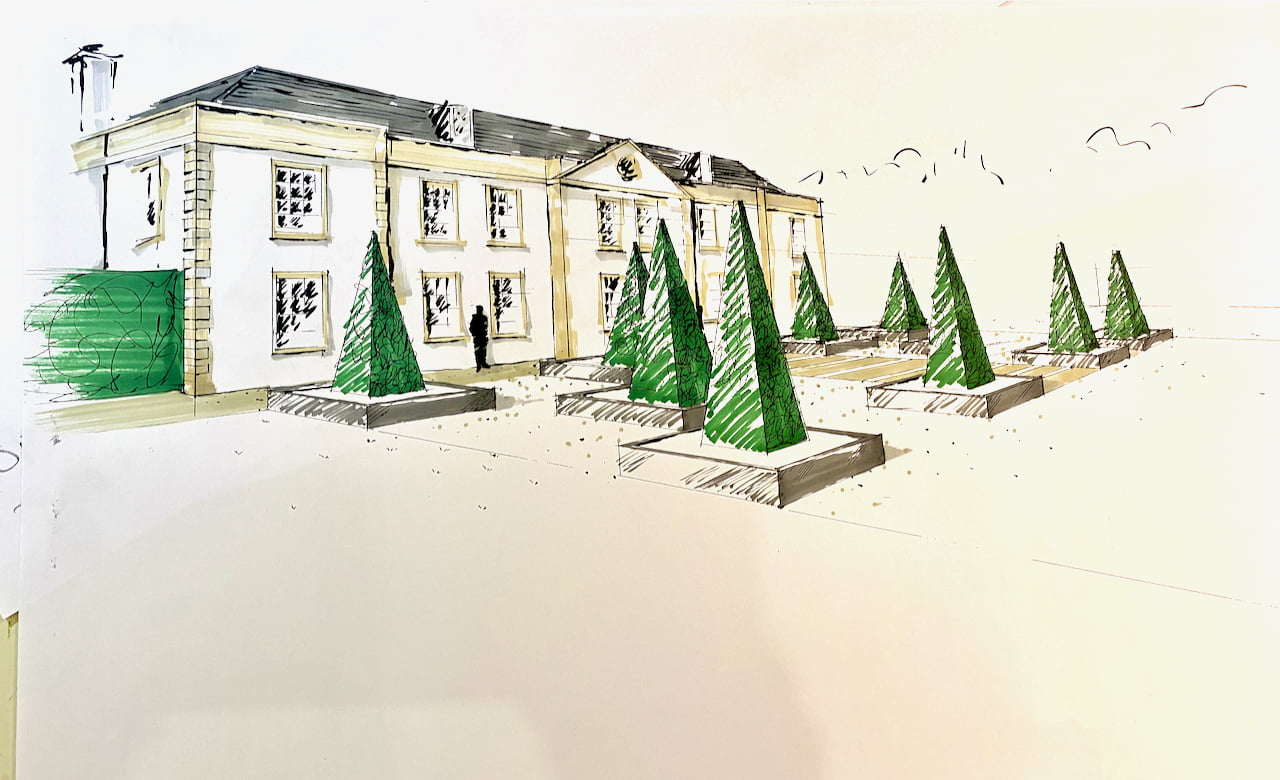 My drawing for the front garden of a Georgian house