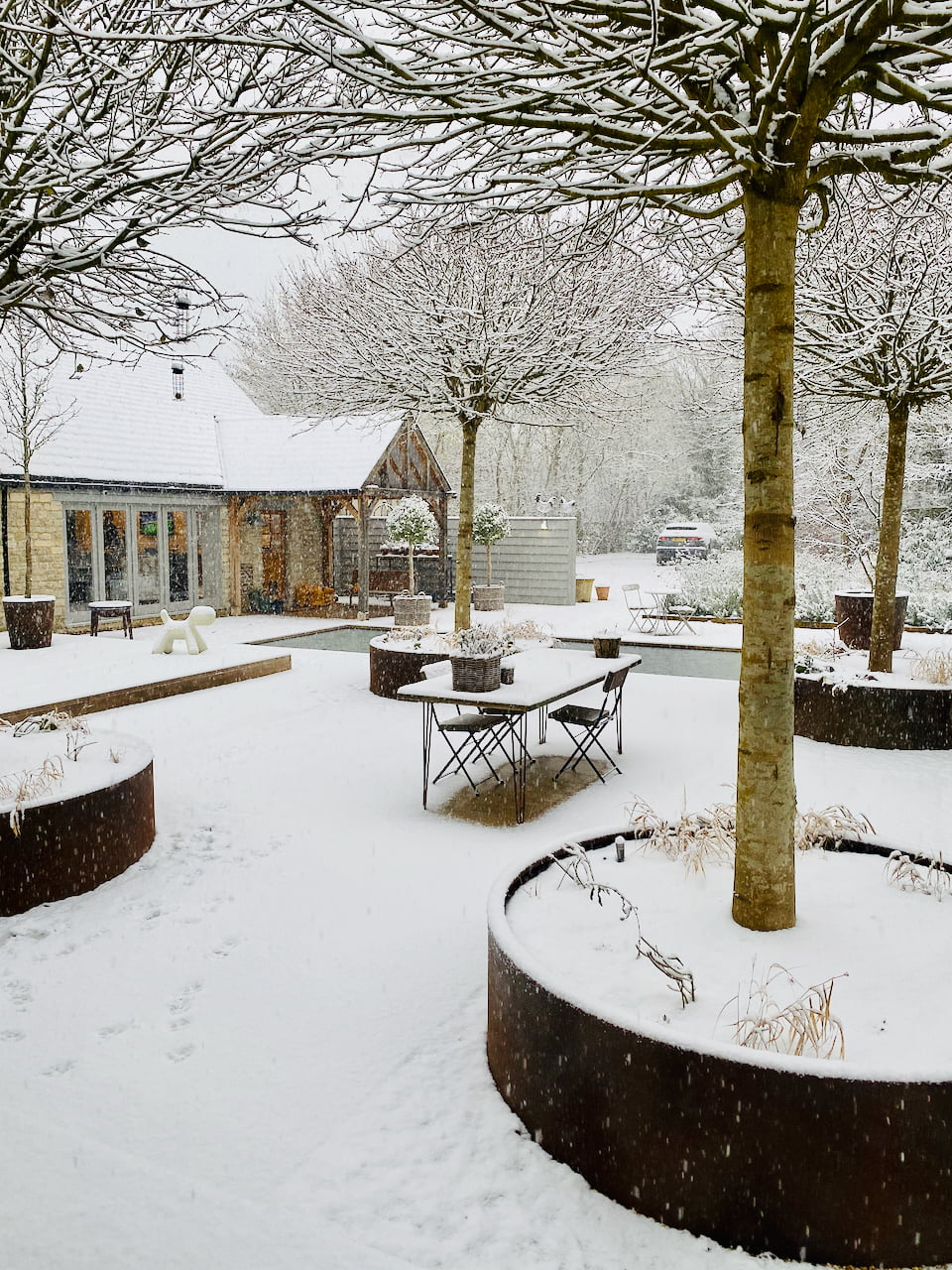 Our courtyard garden in snowy Cotswolds by Jo Alderson Phillips