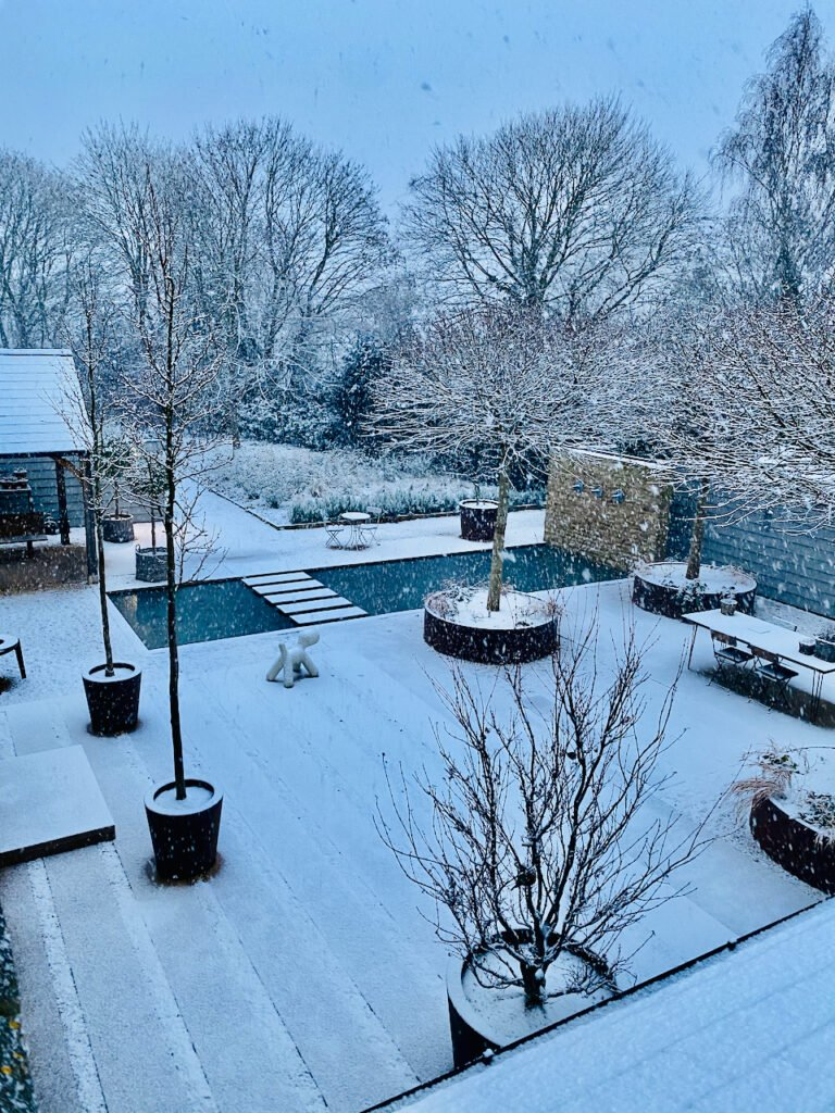 View from above of our snowy Cotswold courtyard by Jo Alderson Phillips